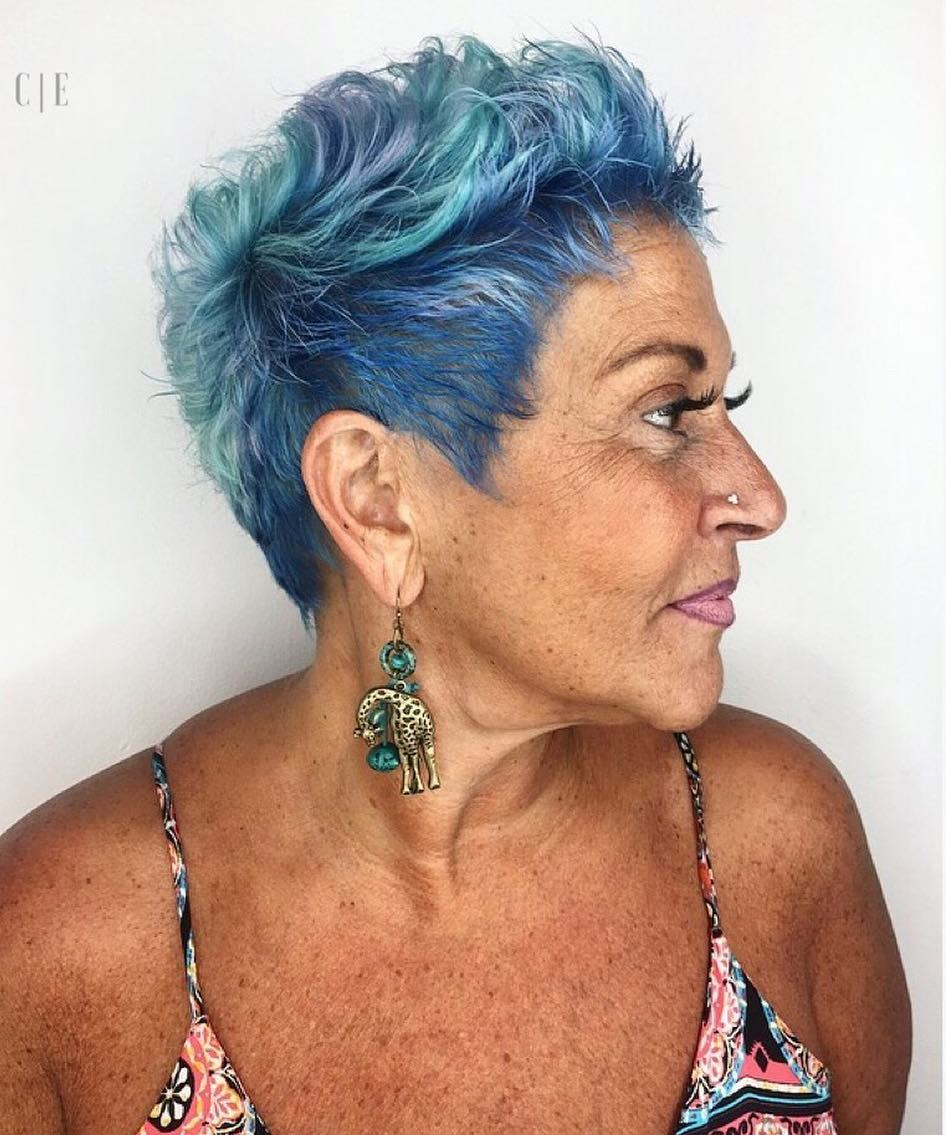 50+ Messy Short Pastel Blue Hairstyle