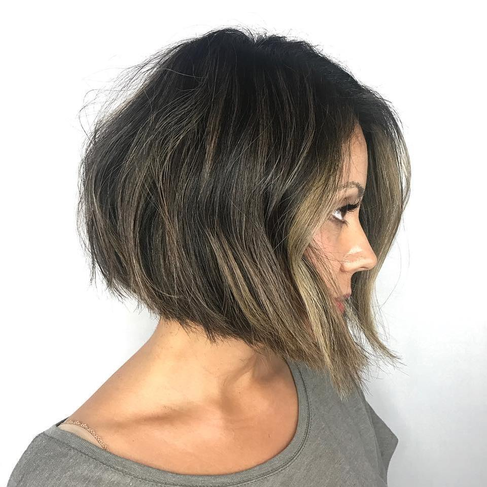 Angled Ash Brown Bob with Subtle Balayage