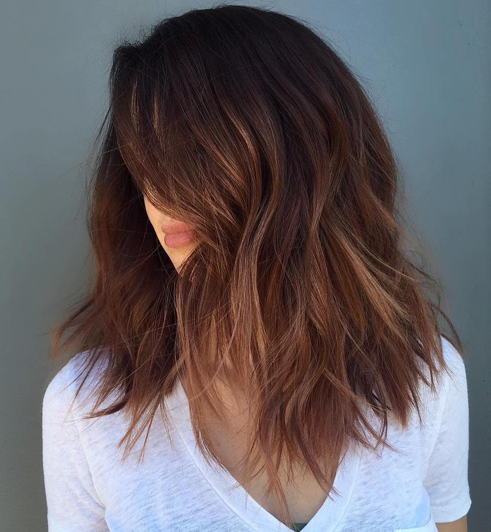 Medium-to-Long Brown Hair with Coppery Balayage