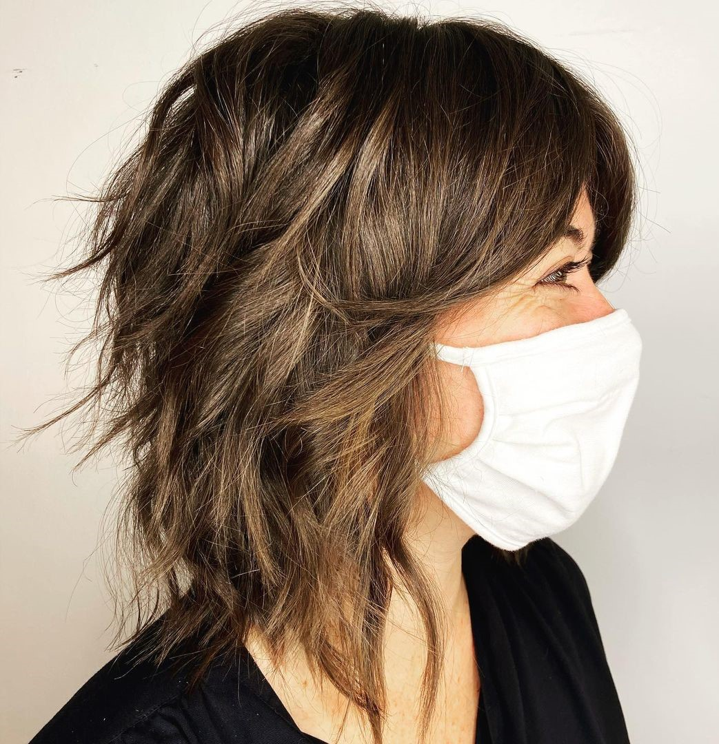 Layered Lob with Curtain Bangs