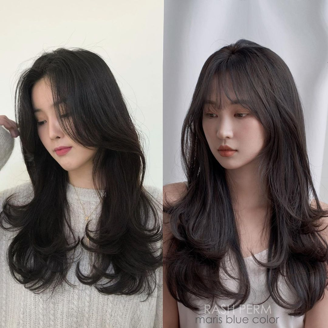 Long Hair with Bangs for a Round Face