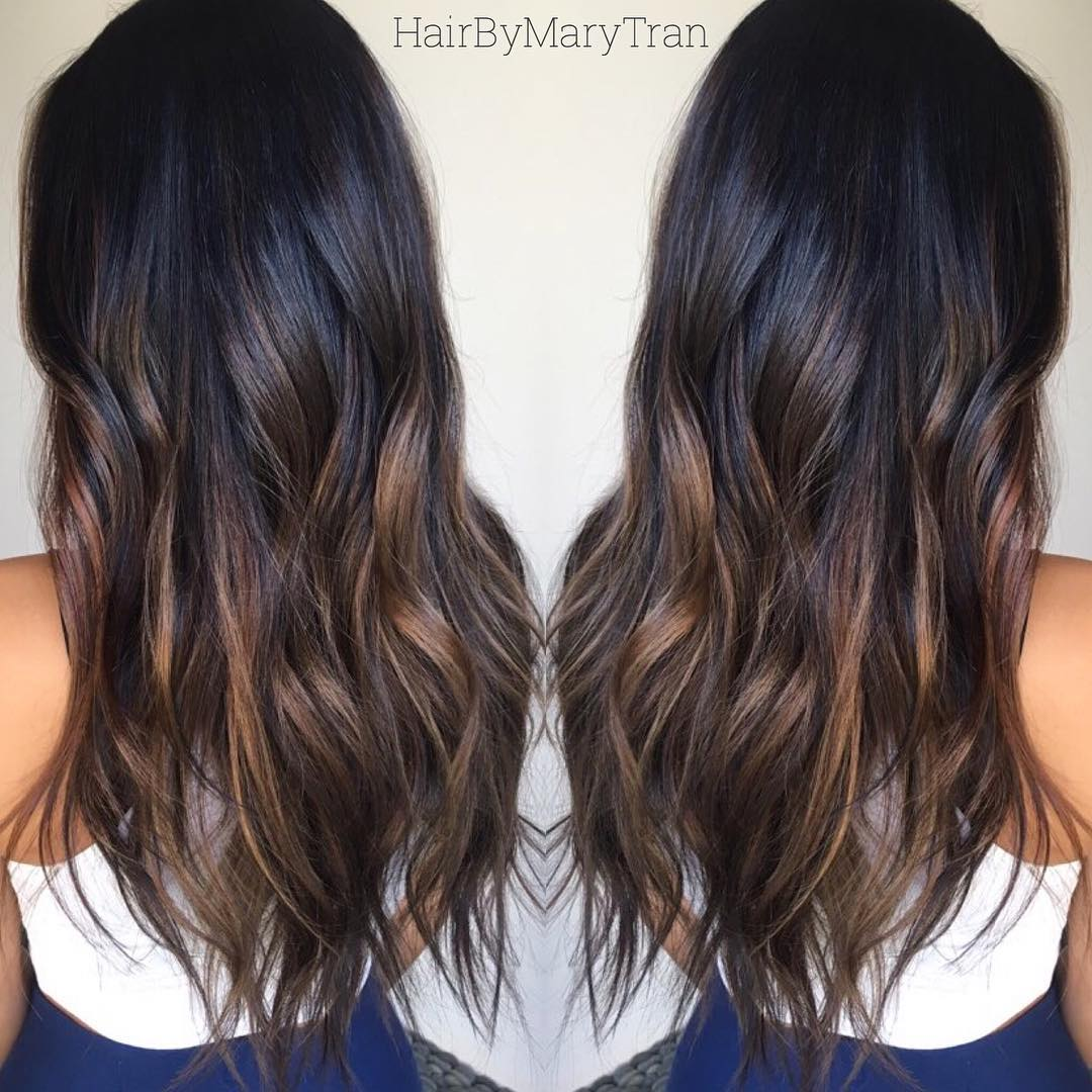 Long Chocolate Brown Hair with Creamy Highlights