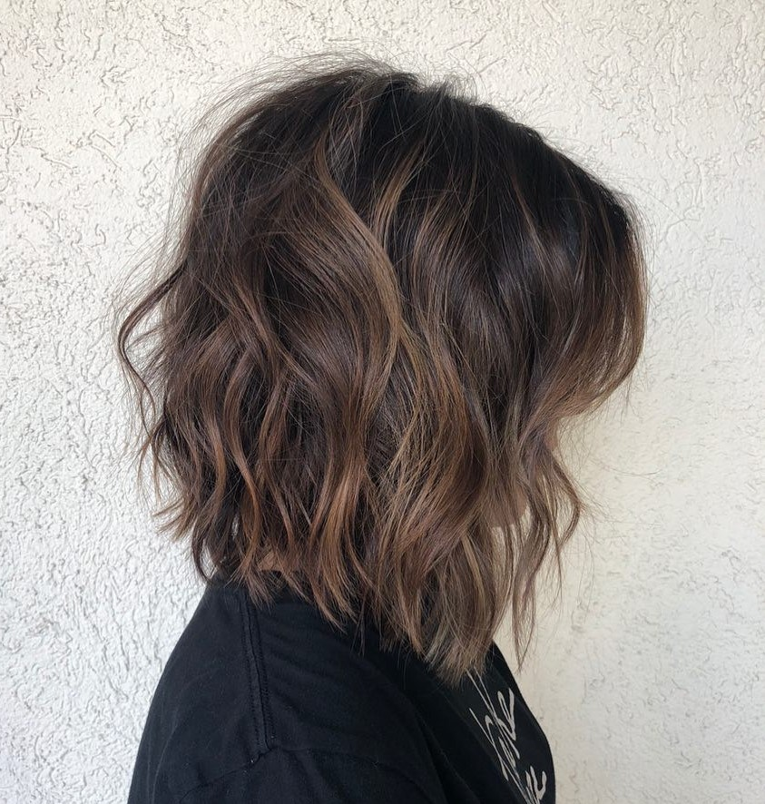 Long Inverted Bob Hairstyle for Wavy Hair