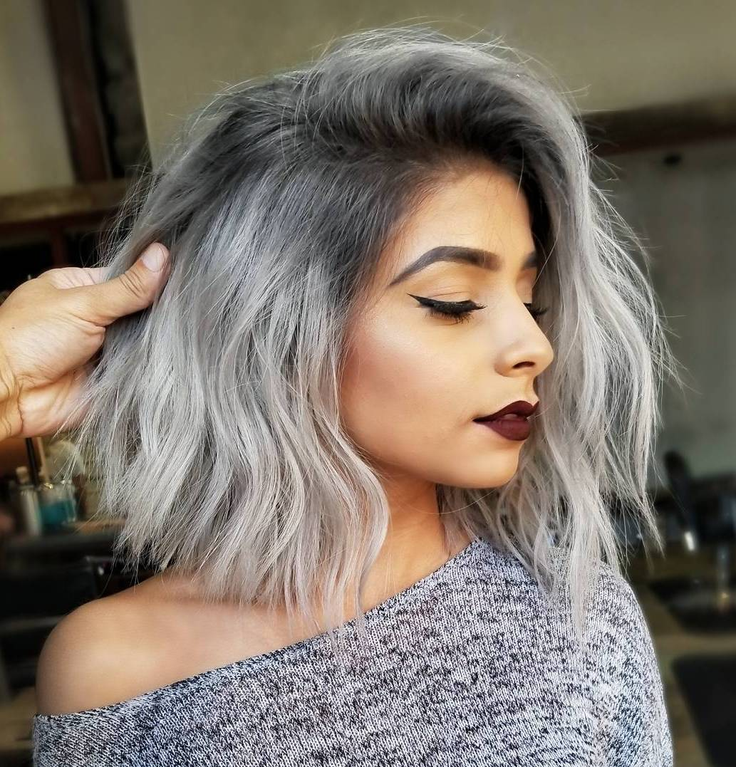 Medium Length Tousled Silver Bob