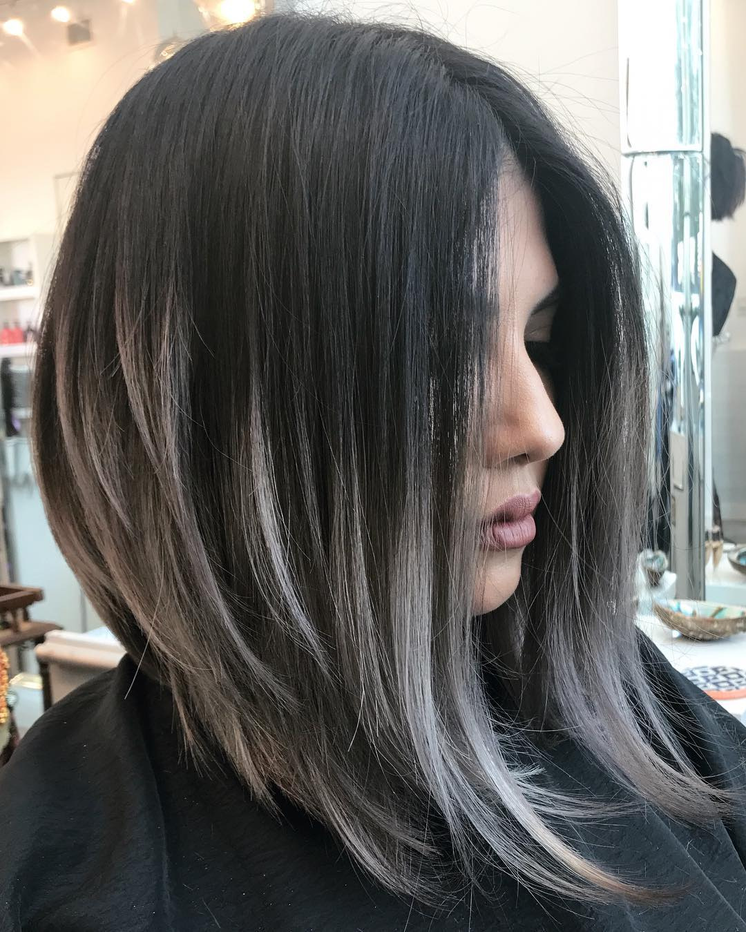 Medium Angled Hairstyle for Thick Hair