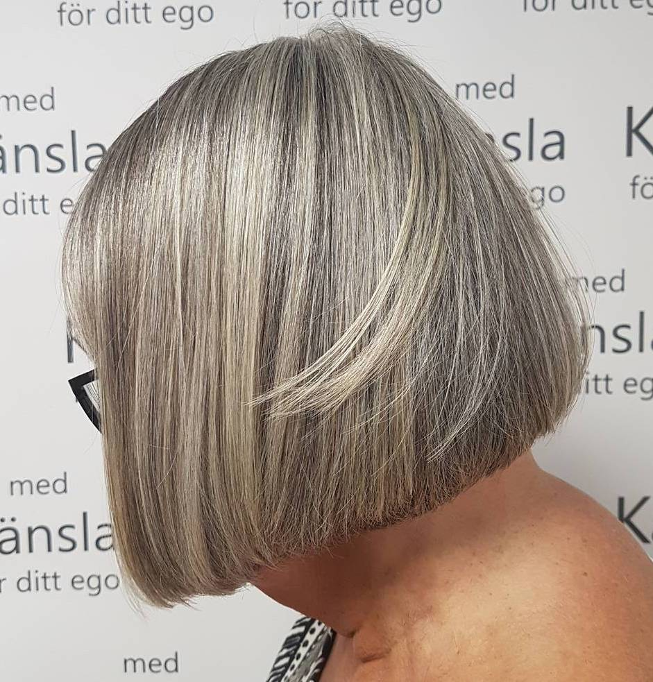 Sleek Blunt Gray Bob