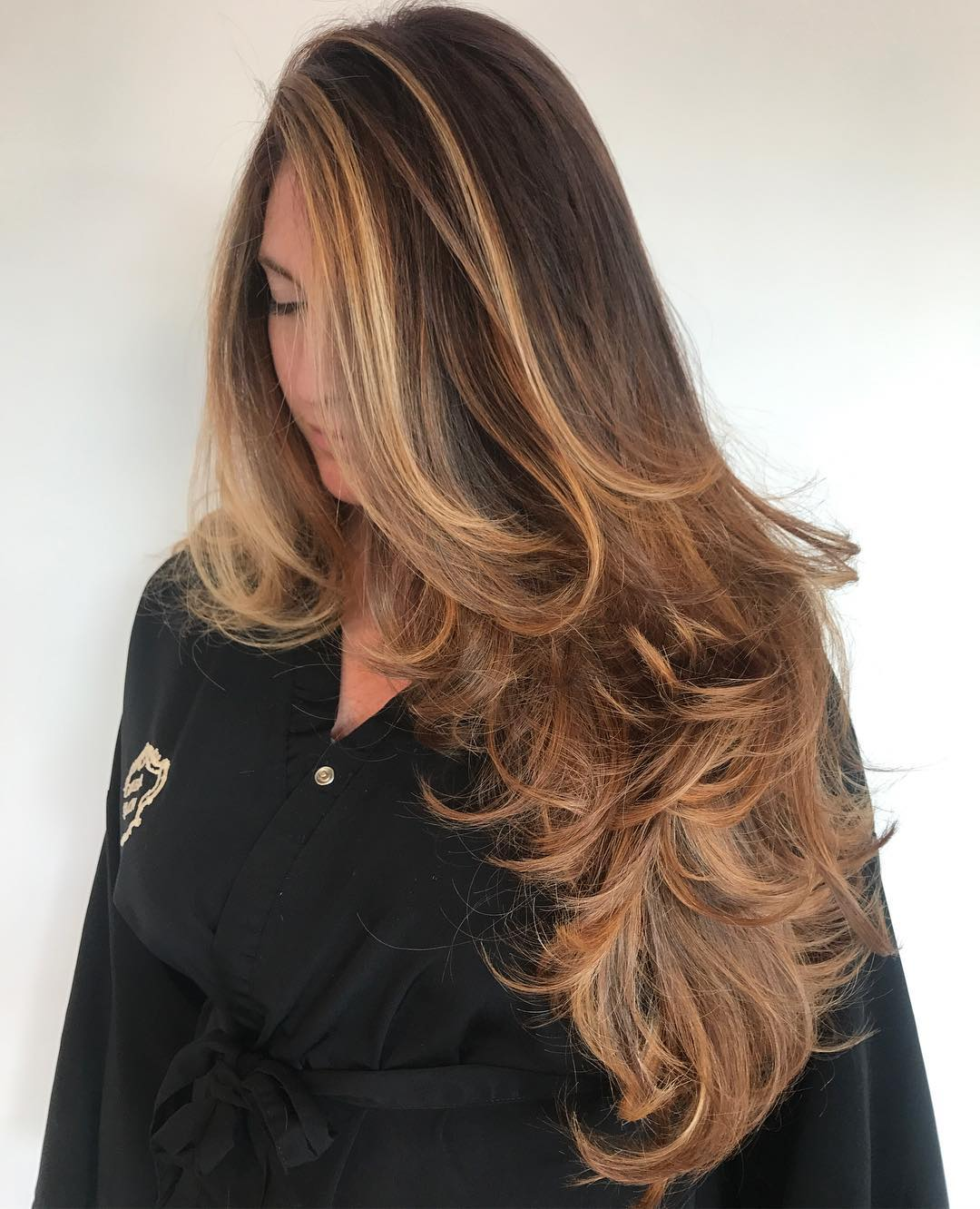 Long Layered hair with Golden Balayage