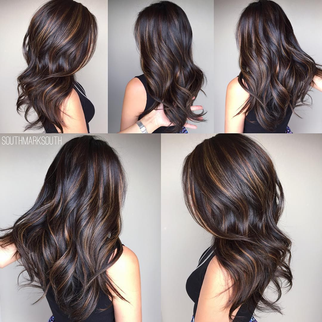 Long Chocolate Balayage for Brunettes