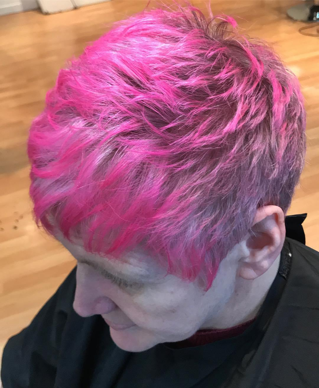 Bright Pink Pixie for Gray Hair