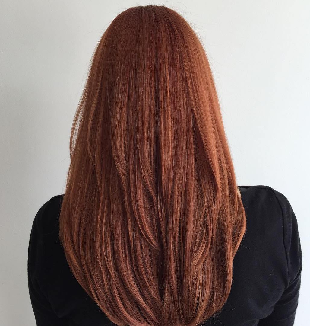 Red V-Cut Hairstyle for Long Straight Hair
