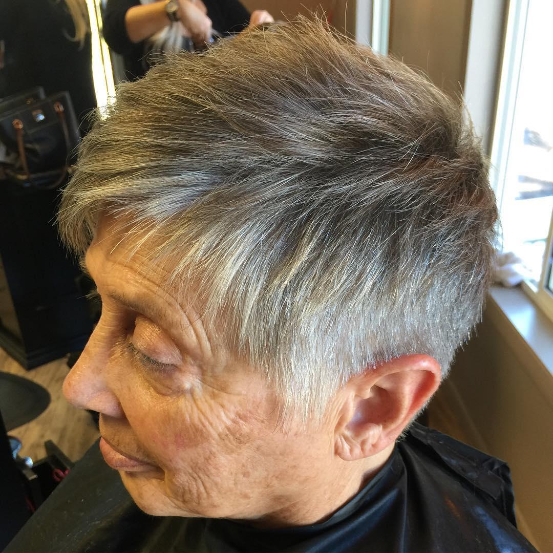 Long gray hair over 70