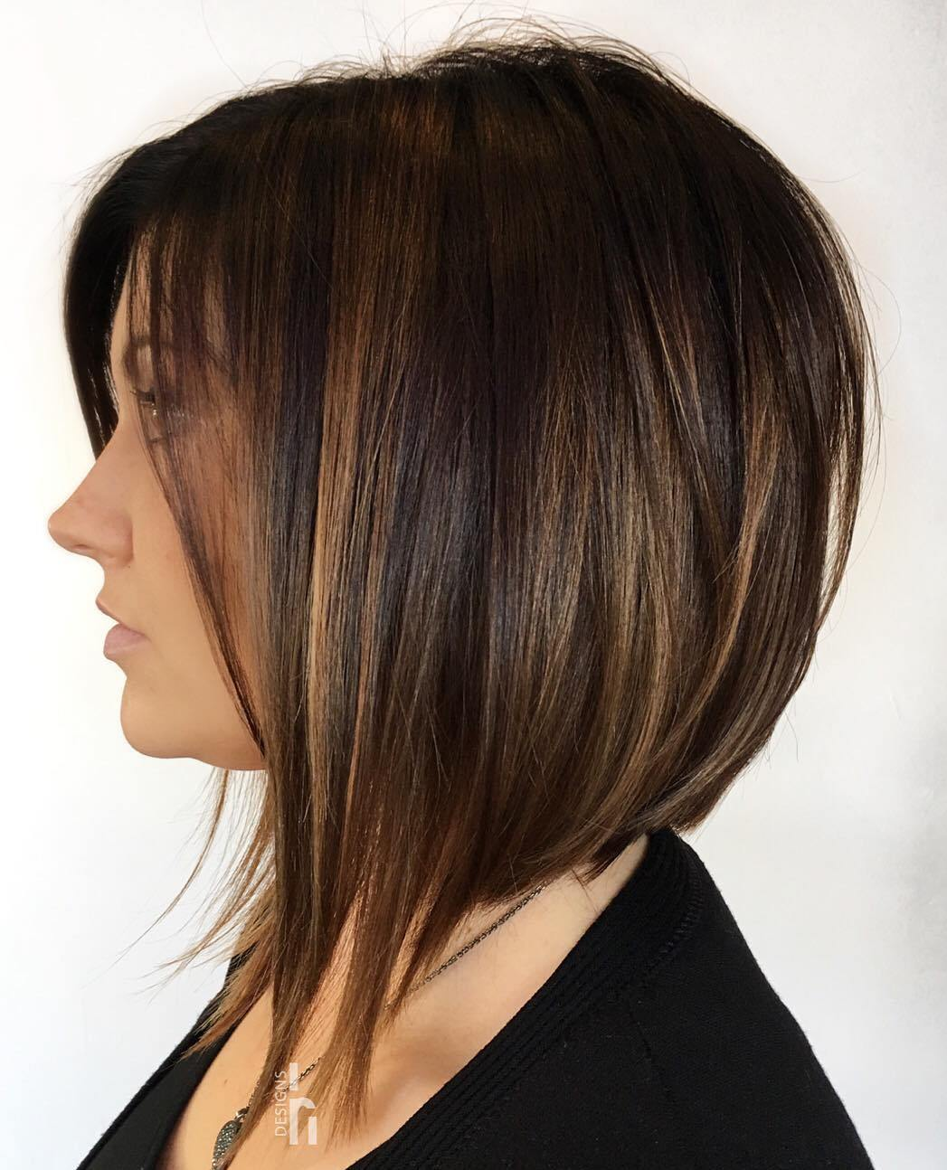 Brown Bob with Light Auburn Highlights