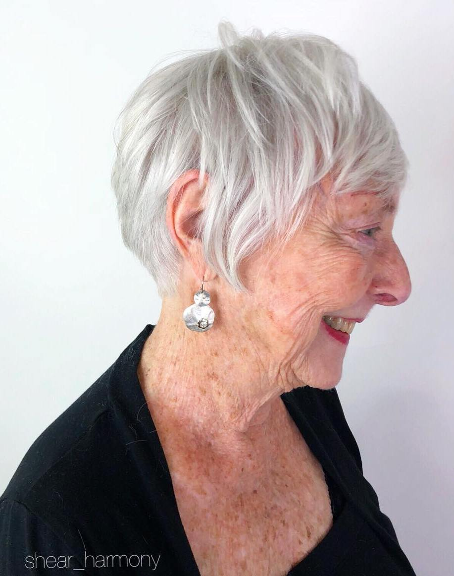 Short Silver Hairstyle with Piece-y Layers