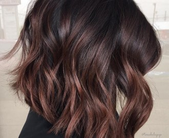 Wavy Black and Chocolate Lob