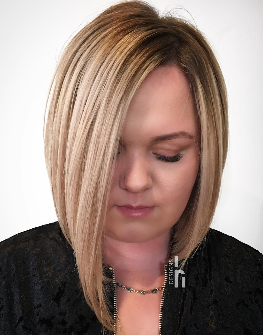 Cute Asymmetrical Peek-a-Boo Bob for Straight Hair