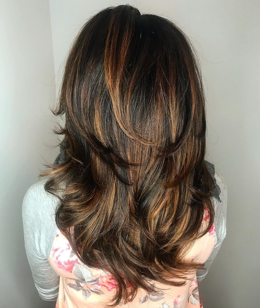 Dark Hair with Layers and Caramel Highlights