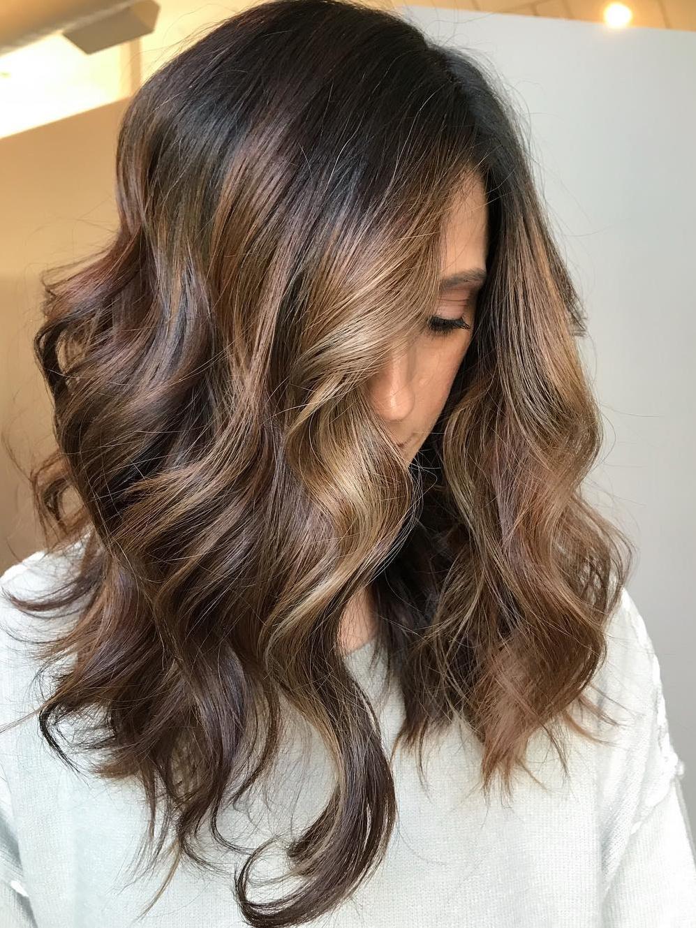 Medium Wavy Chocolate Blonde Hairstyle