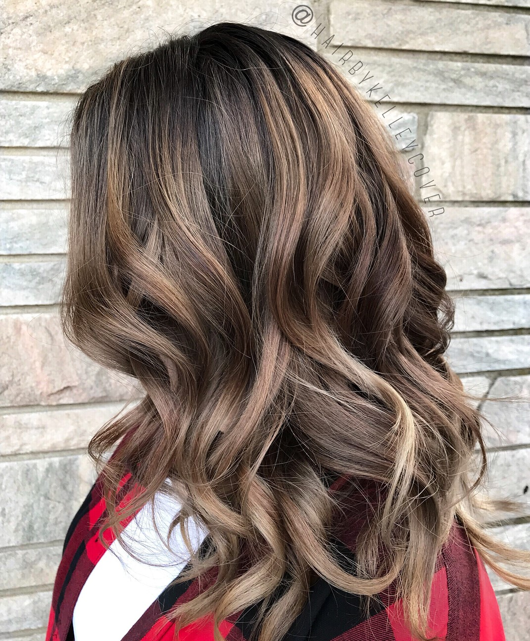 Long Dark Hair with Light Brown Balayage