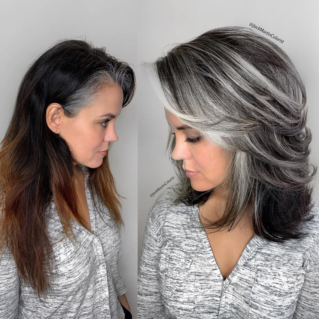 Medium Layered Gray Hairstyle