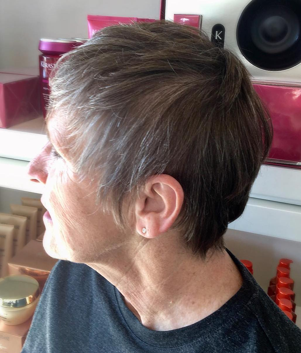 New Gray Pixie for Thin Hair