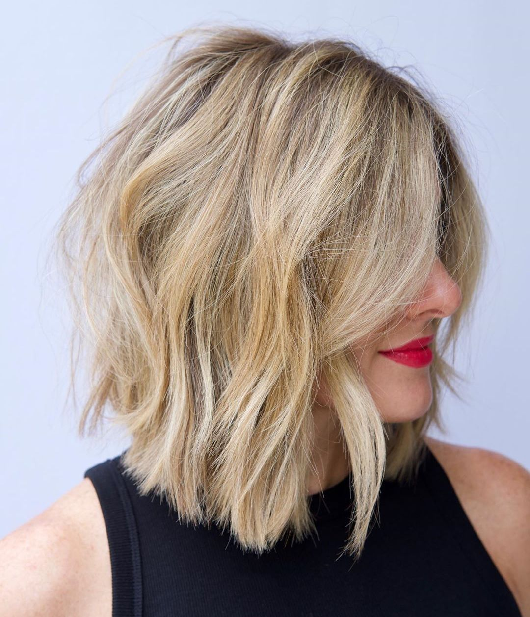 Medium Choppy Bob Hairstyle for Thick Hair