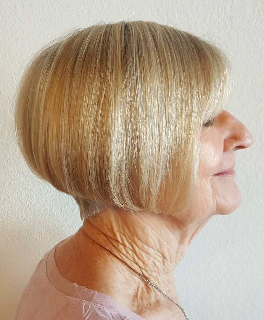 Classic Short Stacked Bob Over 70