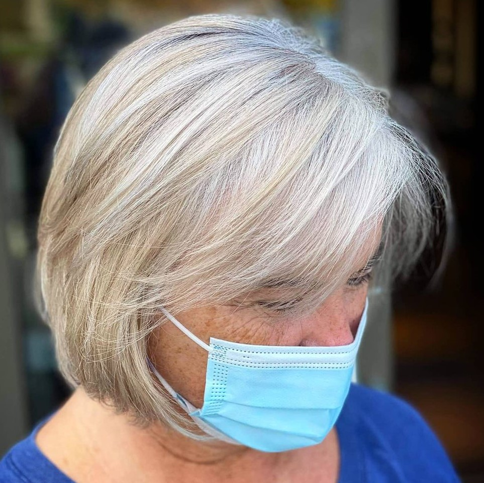 Silver Bob with Bangs for Women Over 70