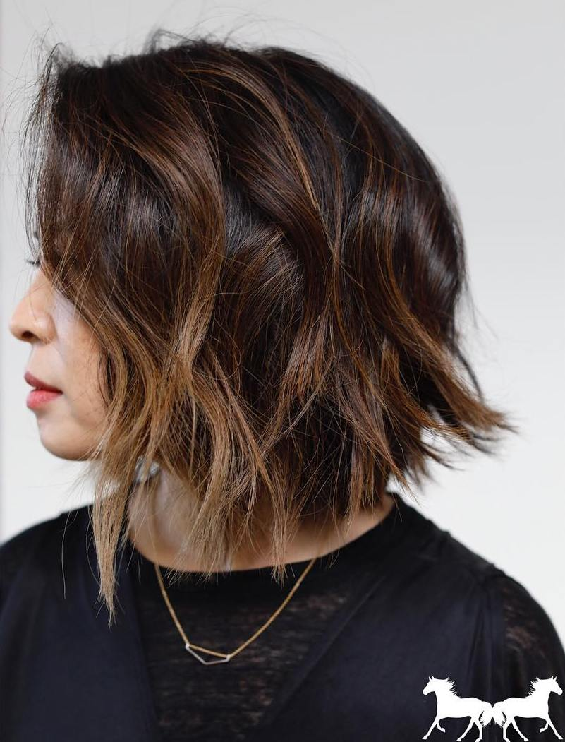 Chocolate Balayage Bob for Brunette Hair