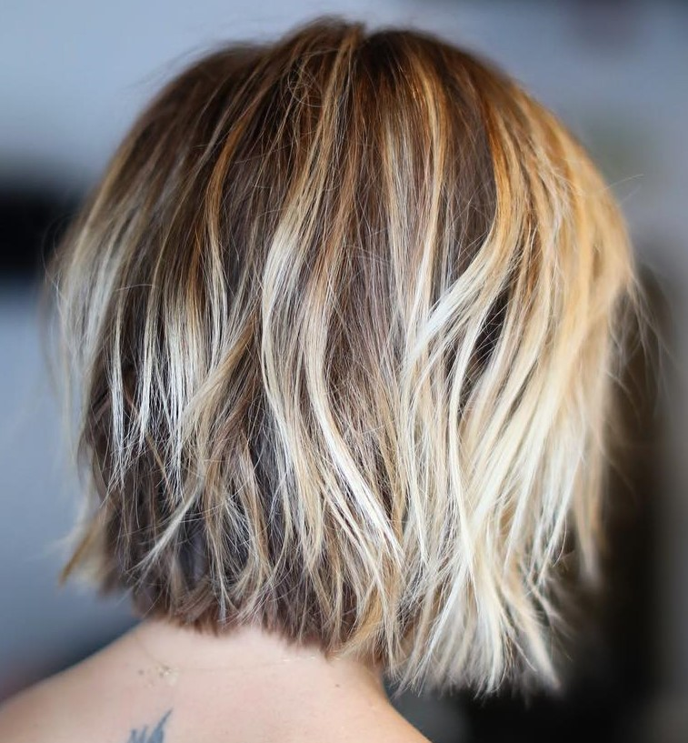 Choppy Textured Blonde Bob