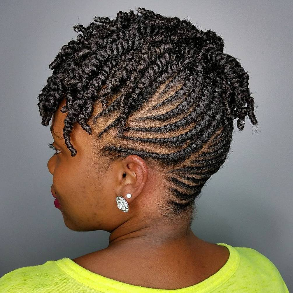 Cool Black Flat Twist Updo
