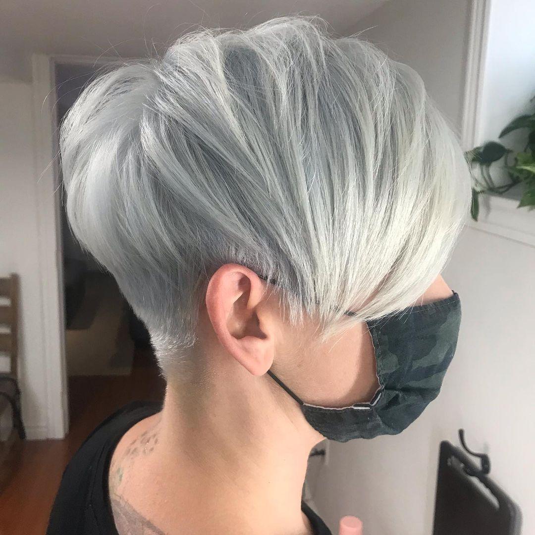 Long Silver Pixie Cut with Undercut