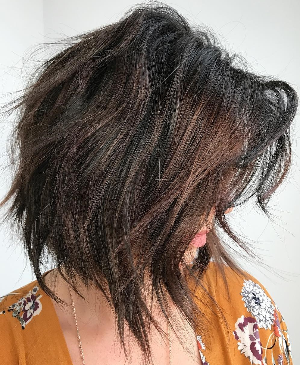 Edgy Brown Bob with Subtle Balayage