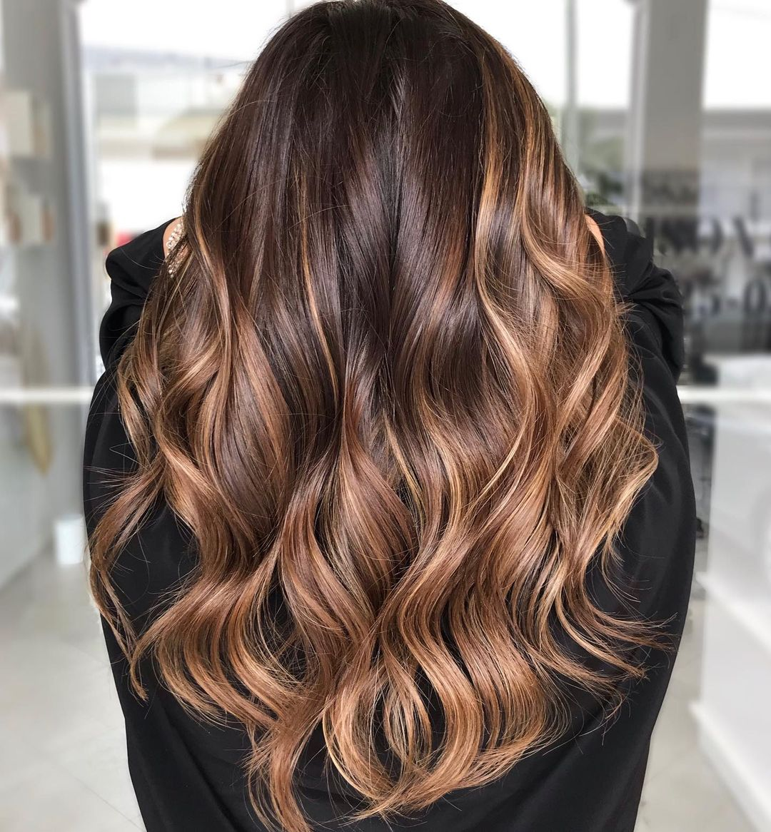 Auburn and Chocolate Brown Balayage Hair