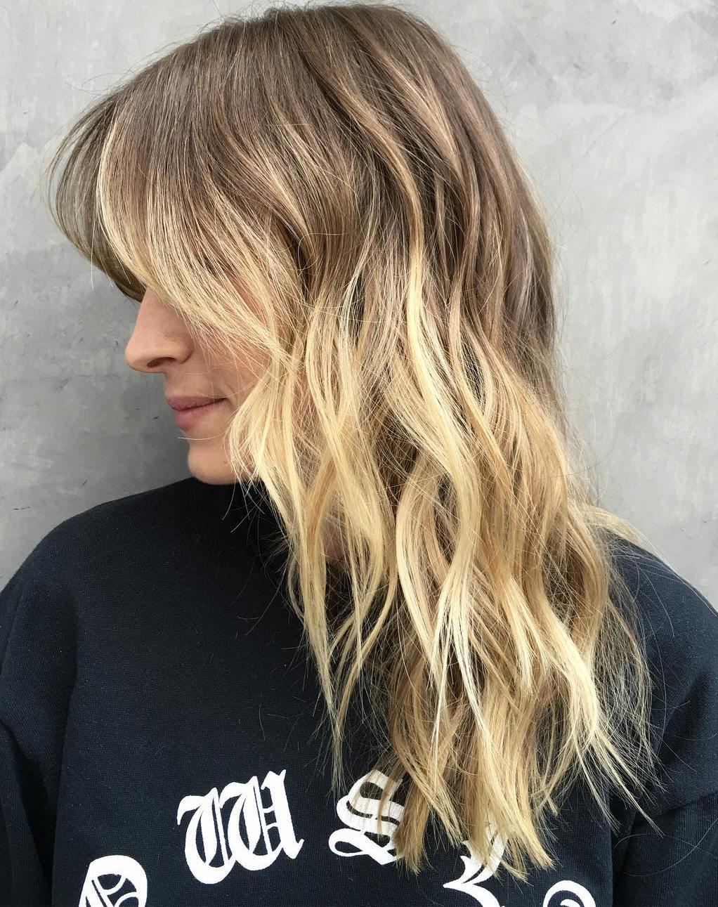 Beachy Bronde Layered Hair with Waves