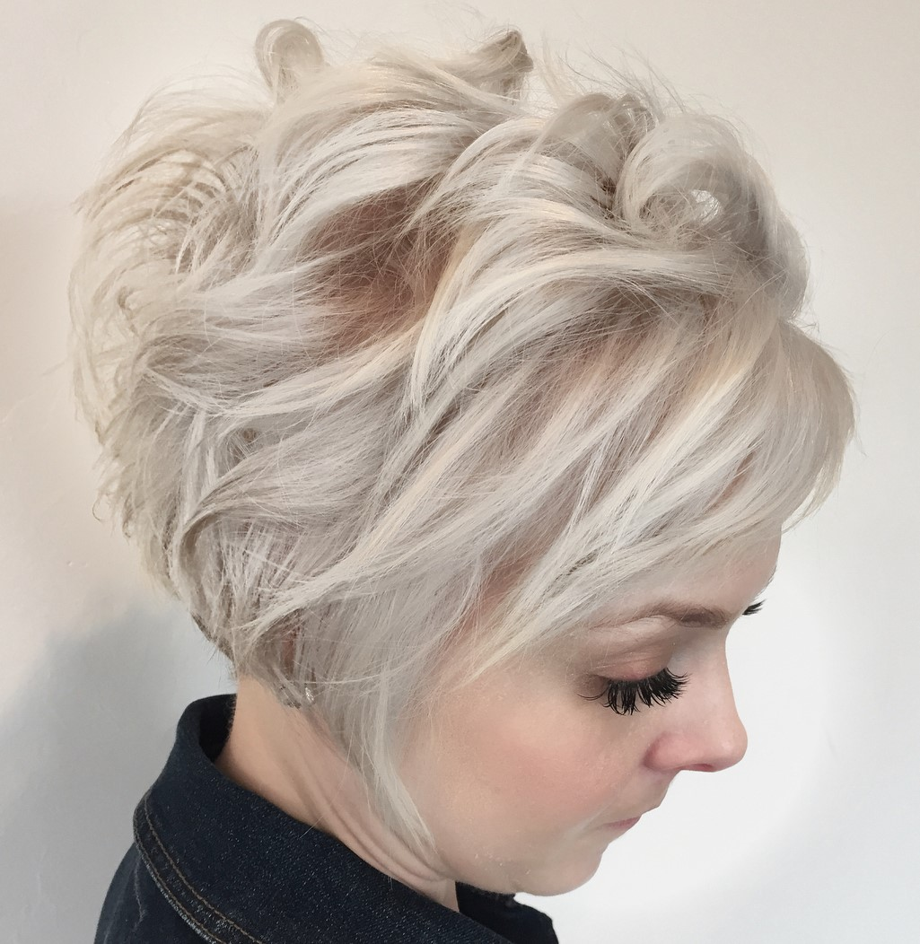Messy White Blonde Pixie