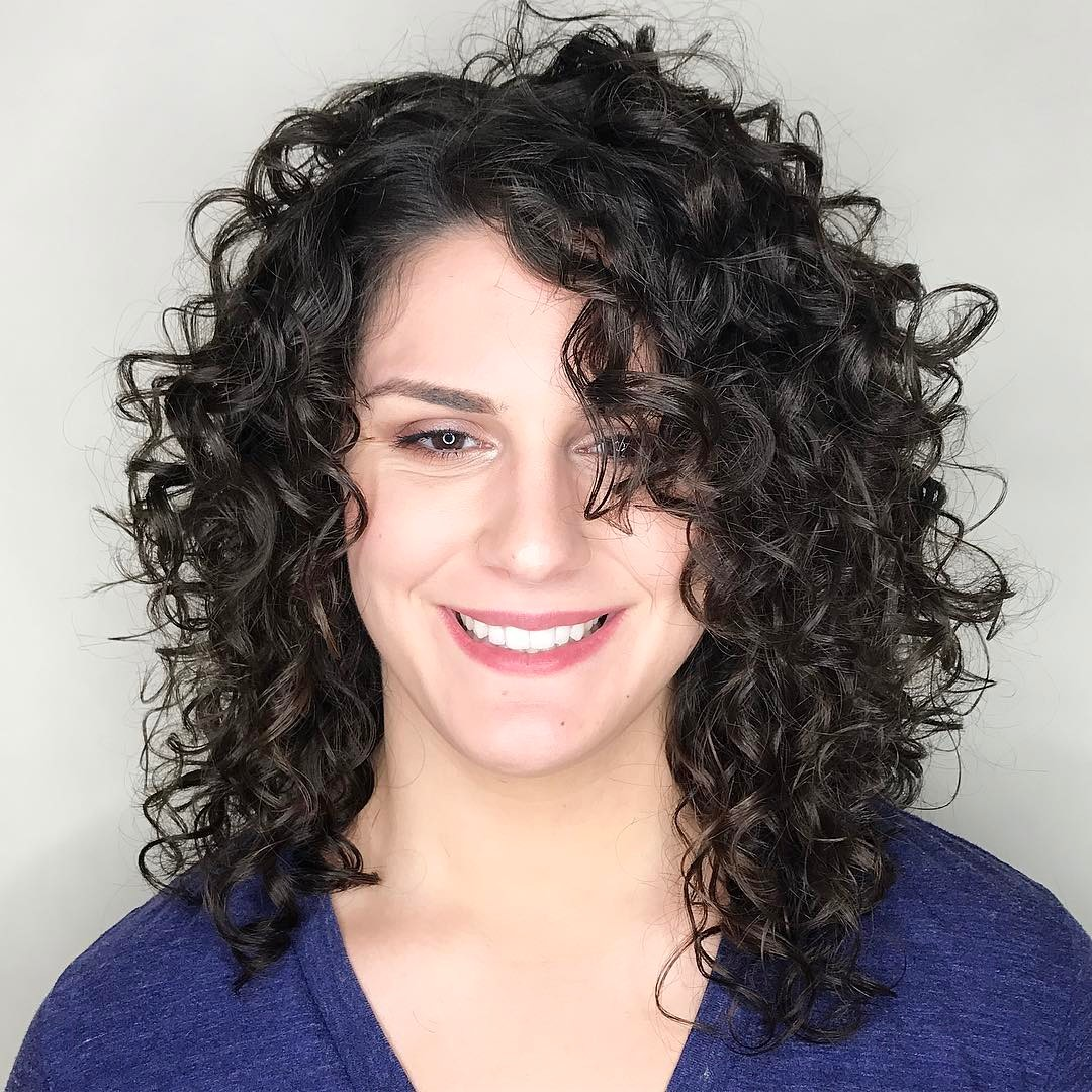 Medium Layered Haircut for Bouncy Curls