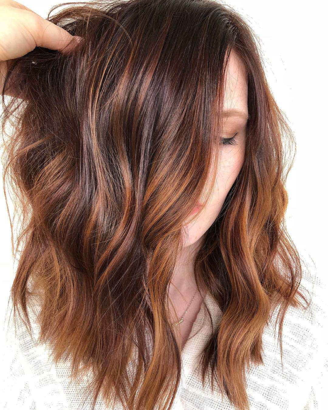 Dark Brown with Strawberry Highlights