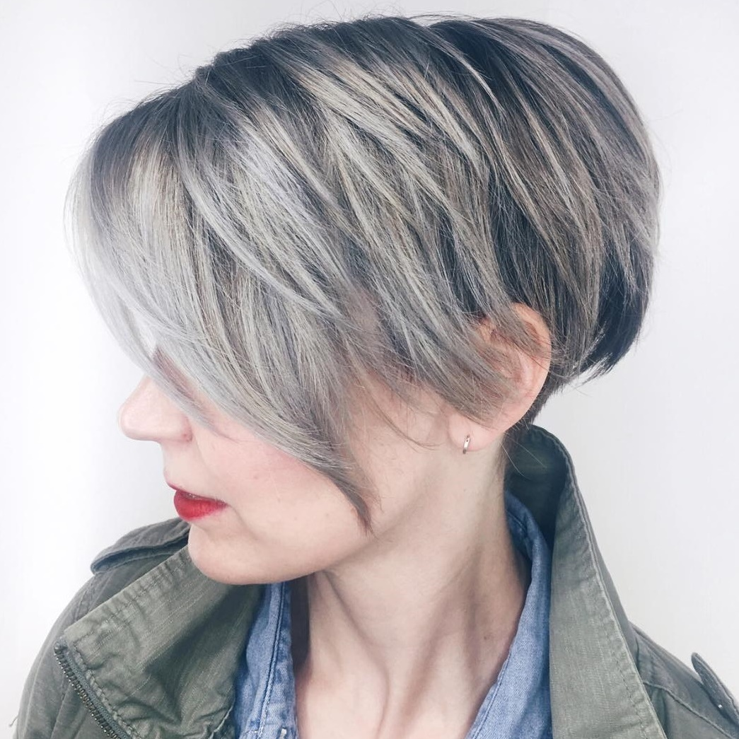 Brown Pixie with Gray Balayage