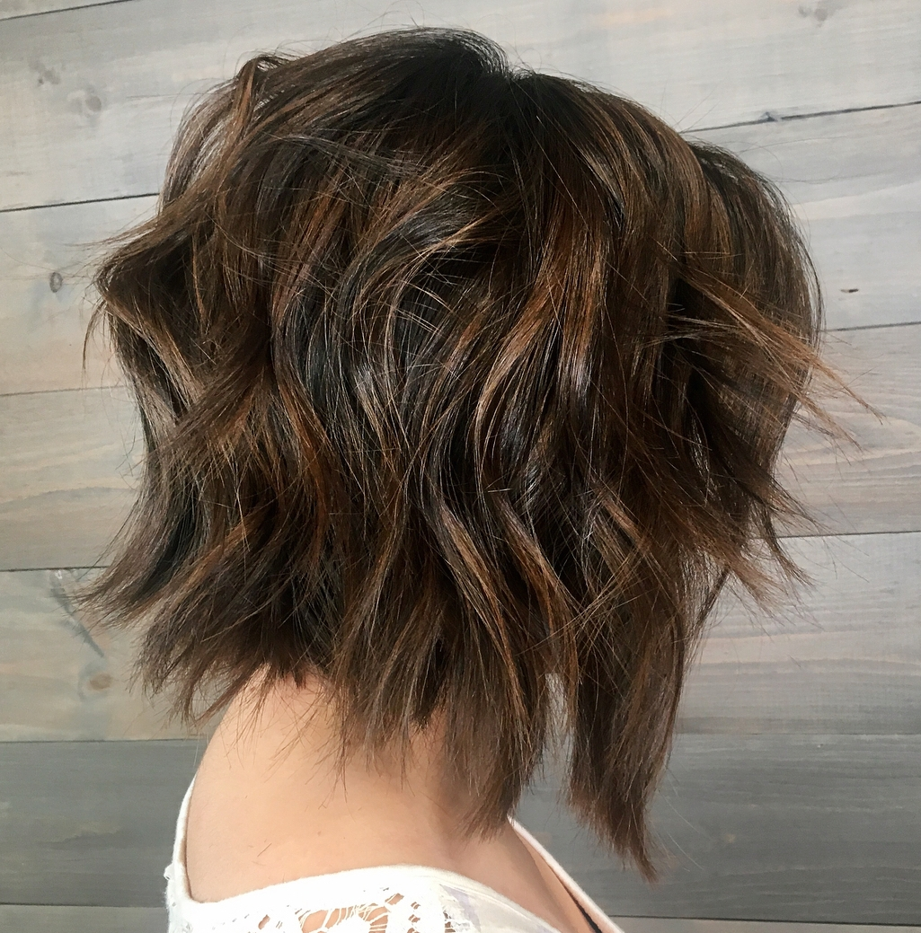Carefree Razored Brunette Bob