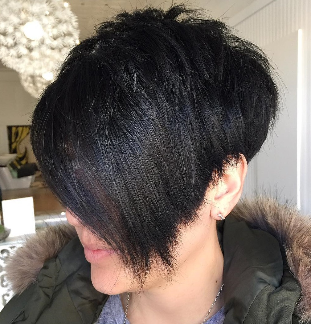 Black Tapered Pixie with Side Bangs
