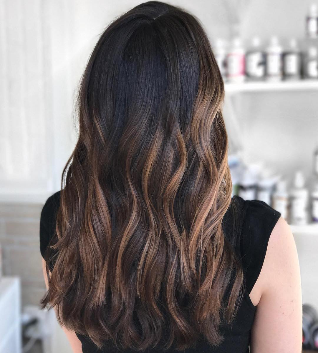 Brunette Hair with Caramel Highlights