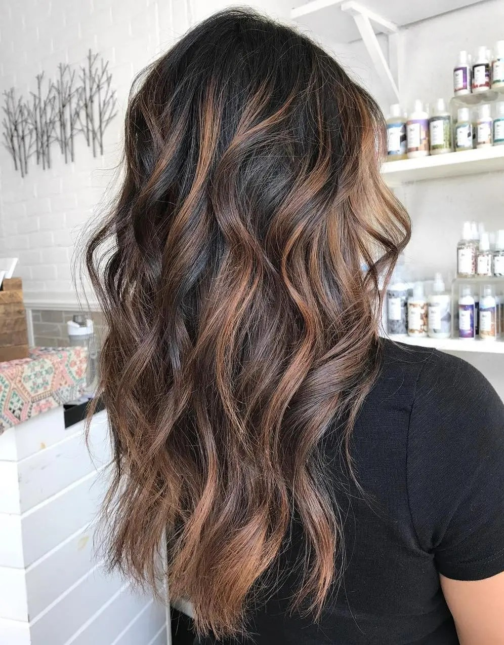 Highlighted Coffee Brunette Hair