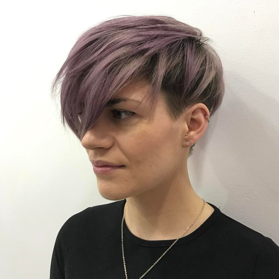 Muted Purple Undercut Pixie with Bangs