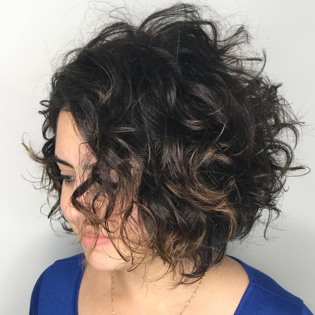 Black Tousled Curly Bob with Babylights