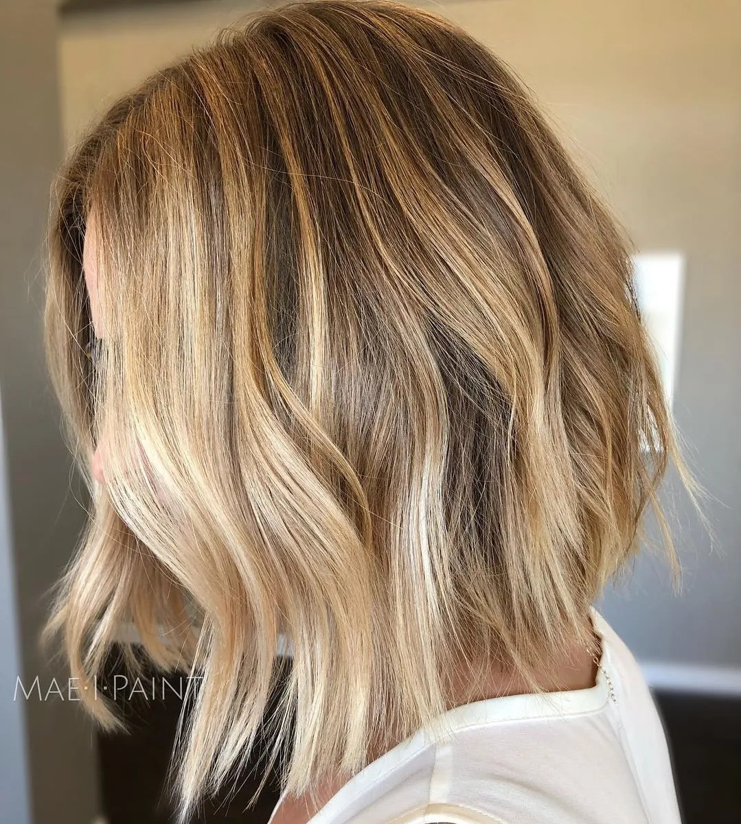 Honey Blonde Bob with Smooth Waves