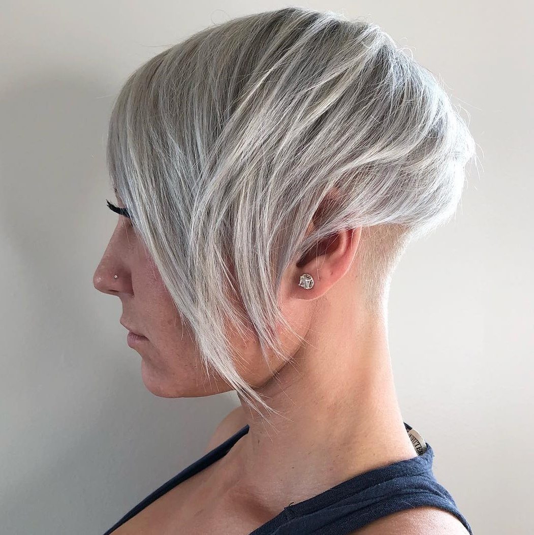 Side-Swept Silver Undercut Pixie