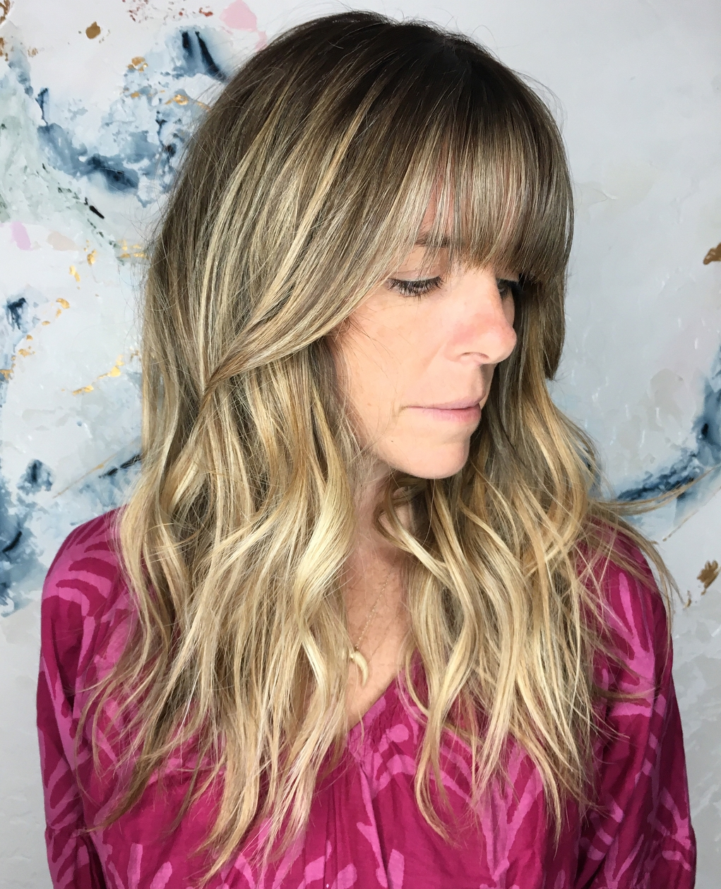 Bronde Balayage Hairstyle with Bangs