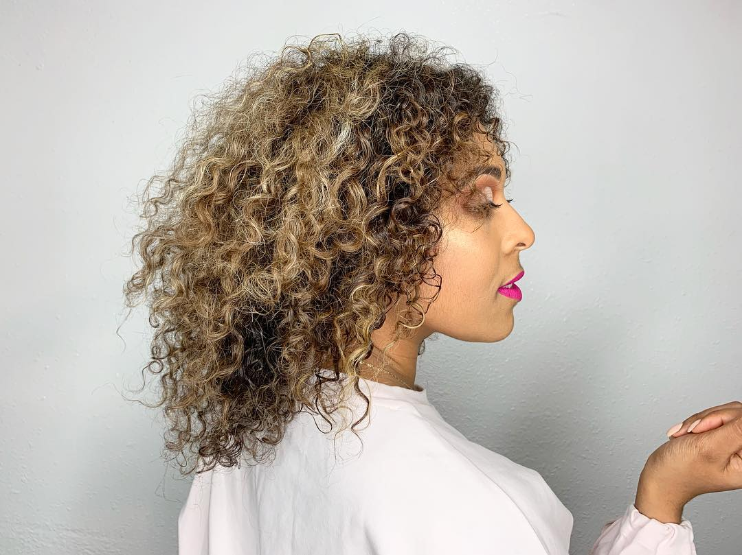 Curly Hair with Pintura Highlights