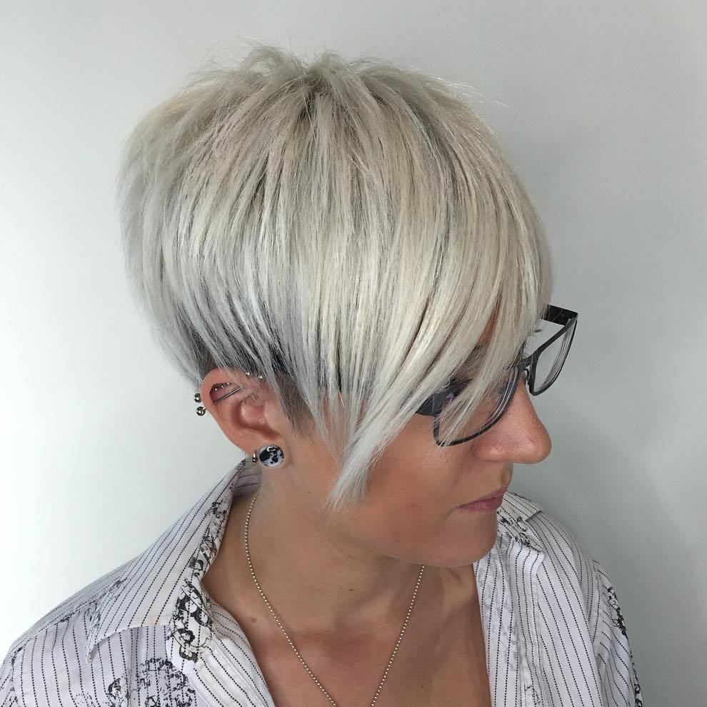 Platinum Pixie for Fine Straight Hair