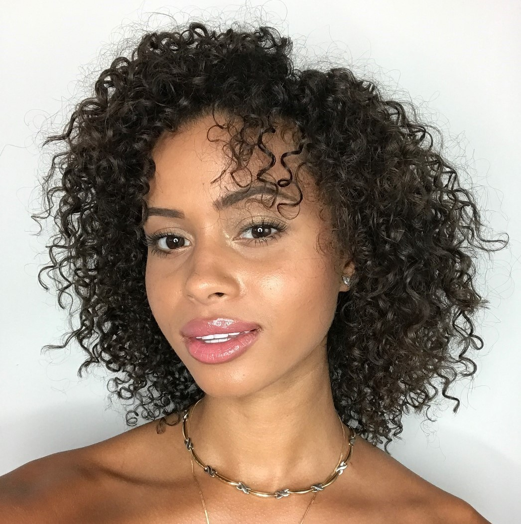 Medium Black Natural Curly Hairstyle